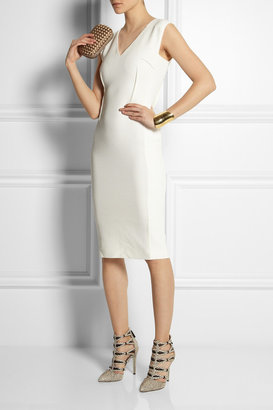 Roland Mouret Wezen stretch crepe-paneled basketweave cotton dress