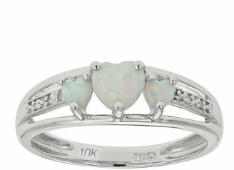 FINE JEWELRY Lab-Created Opal& Diamond-Accent Heart-Shaped 3-Stone 10K White Gold Ring