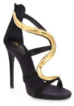 Giuseppe Zanotti Suede & Lacquered Metal Sandals