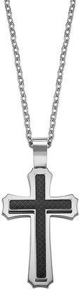 Triton Axl by stainless steel & black carbon cross pendant - men