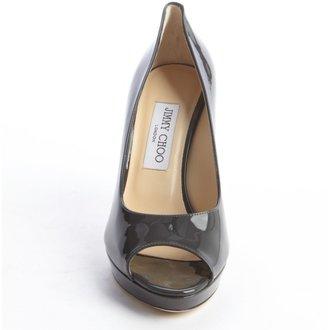 Jimmy Choo Smoky Grey Patent Leather Peep Toe Pumps