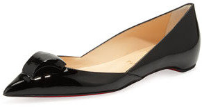 Christian Louboutin Philaer Patent Ornament-Toe Skimmer, Black