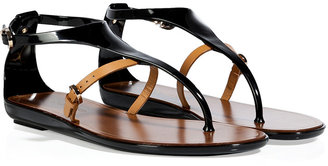 Sergio Rossi Black/Beige PVC/Leather Thong Sandals