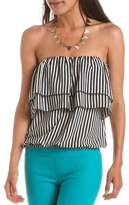 Charlotte Russe Tiered Bust Striped Tube Top