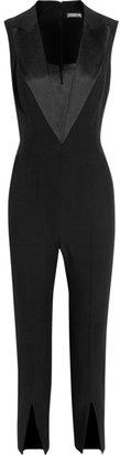 Alexander McQueen Silk satin-trimmed crepe jumpsuit