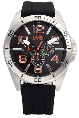 Men's Boss Orange 'Big Time' Multifunction Silicone Strap Watch, 48Mm $185 thestylecure.com
