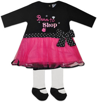 Baby Essentials Baby Set, Baby Girls Born to Shop Dress and Leggings