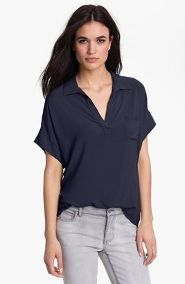 Vince Camuto Two by Collared Mixed Media Tee