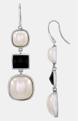 Majorica 'Graphic Contrast' Mabe Pearl Drop Earrings Silver/ Multi