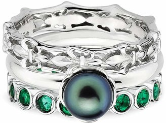 Simply Stacks Sterling Fleur-de-Lis Simulated Emerald Ring Set