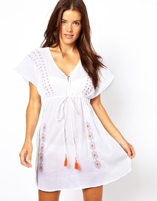 Liquorish Cheesecloth Kaftan With Neon Embroidered Detail