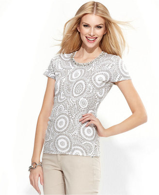INC International Concepts Petite Sweater, Short-Sleeve Printed Necklace-Collar