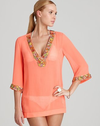 Milly Embellished Chiffon Catalina Beaded Tunic Swimsuit Cover Up