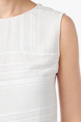 7 For All Mankind Stripe Dobby Peplum Top In Blanc De Blanc