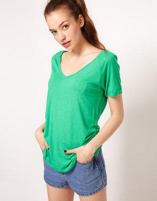 Vila Linen Blend Loose Fit T-Shirt