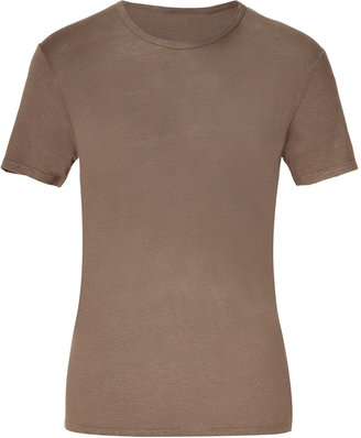 Majestic Biscuit Round Neck Linen T-Shirt