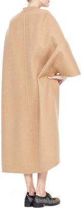 Valentino Long Cape-Sleeve Double Felt Coat, Camel