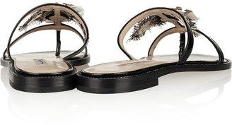 Oscar de la Renta Wissy embellished patent-leather sandals