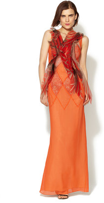 Vera Wang Silk Printed Applique Embroidered Front Gown