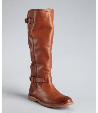 Frye cognac leather 'Celia D Ring' flat boots