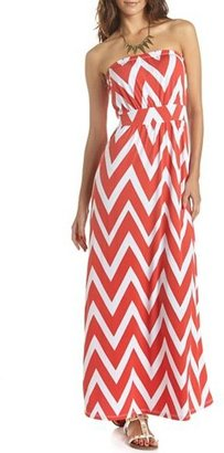 Charlotte Russe Chevron Stripe Tube Maxi Dress