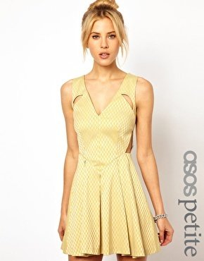 Asos EXCLUSIVE Geo Skater Dress With Cut Out Detail - Yellow/gray