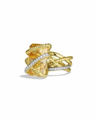 David Yurman Cable Wrap Ring with Citrine and Diamonds in Gold $5,650 thestylecure.com