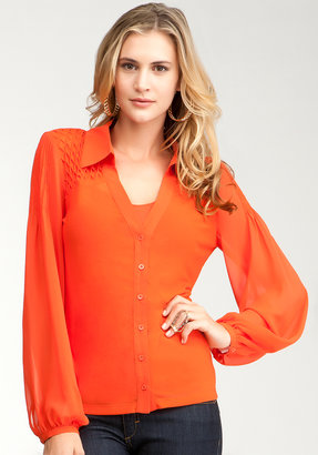Bebe Hi-Lo Smock Button Up Blouse