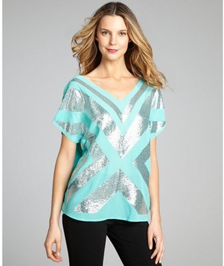 Romeo & Juliet Couture misty mint sequined chiffon v-neck top