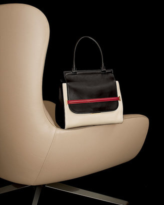The Row Colorblock Top-Handle Satchel, Black/White/Red