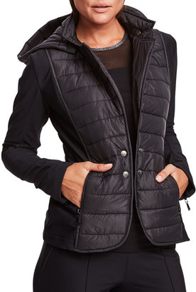 Anatomie Nylon Quilted Puffer Jacket with Knit Inserts