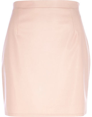 River Island Womens Light pink leather-look mini skirt