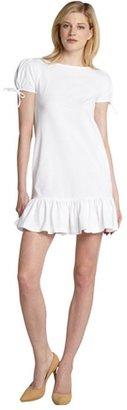 RED Valentino white drop waist bottom ruffle cotton dress