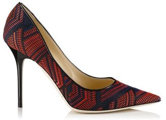 Jimmy Choo Abel Red and Navy Woven Fabric and Patent Pointy Toe Pumps