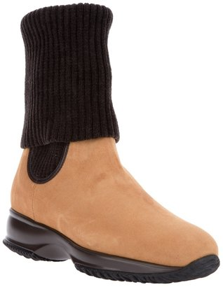 Hogan ribbed cuff ankle boot