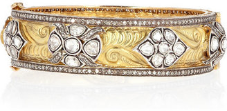 Artisan 14-karat gold and diamond bangle