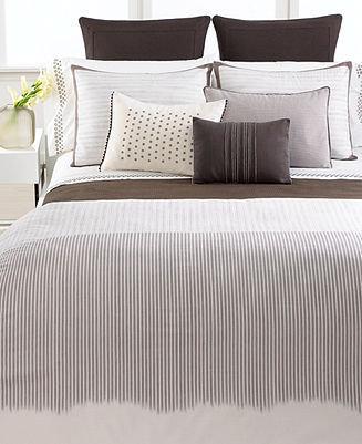 Vera Wang CLOSEOUT! Bedding, Ribbon Stripe Queen Duvet Cover