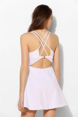 Sparkle & Fade Clasp-Back Cutout Skater Dress