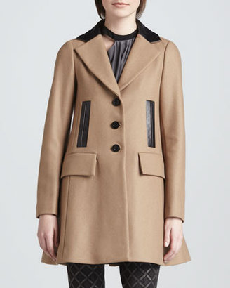 Nanette Lepore Grand Bazaar Leather-Trim Coat