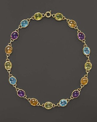 "Bloomingdale's Amethyst, Blue Topaz, Citrine and Prasiolite Cabochon Necklace in 14K Yellow Gold, 16"" - 100% Exclusive"