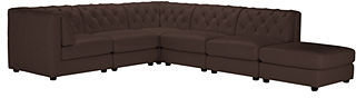 Rosario 6-Piece Leather Modular (3 Armless Chairs, 2 Corner Units and Ottoman)