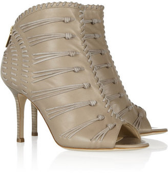 Jimmy Choo Gio suede-woven leather ankle boots