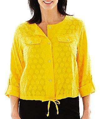 JCPenney Lark Lane® Solid Dot Button-Front Blouson Shirt