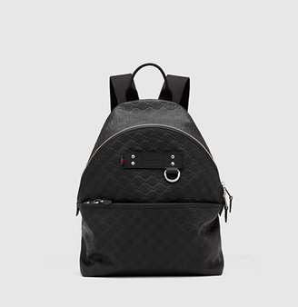 Gucci Black Rubber Guccissima Leather Backpack