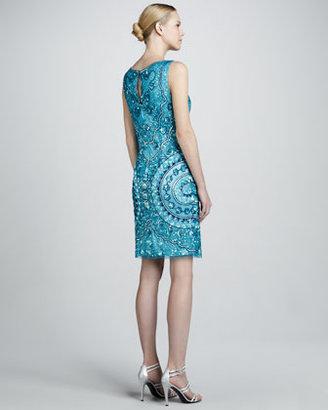 Aidan Mattox Square-Neck Beaded Cocktail Dress