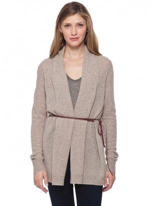 White + Warren Cashmere Leather Tie Cardigan