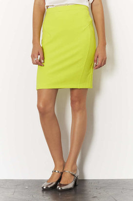 Topshop Chartreuse Crepe Pencil Skirt