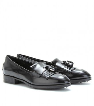 Tod's BOXCALF FRINGED TASSEL LOAFERS