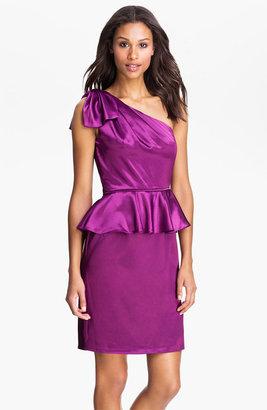 Jill Stuart One Shoulder Satin Peplum Dress