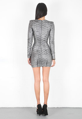 Torn By Ronny Kobo Donna Long Sleeve Pleated Dress in Silver